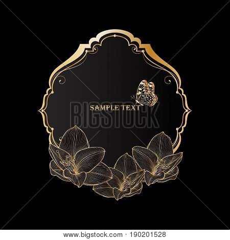 Beautiful golden vintage floral frame with flower amaryllis and butterfly