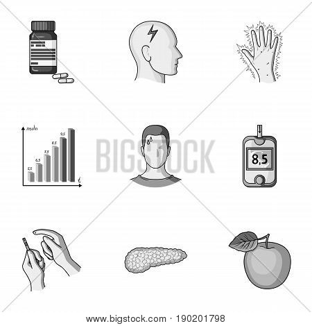 A set of icons about diabetes mellitus. Symptoms and treatment of diabetes. Diabetes icon in set collection on monochrome style vector symbol stock  illustration.