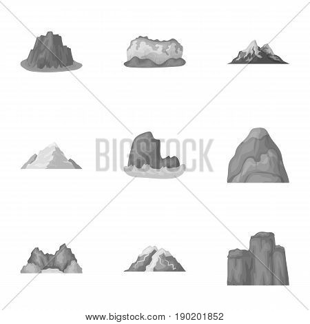 Set of icons about different mountains. Winter, summer mountains in one collection.Different mountains icon in set collection on monochrome style vector symbol stock  illustration.