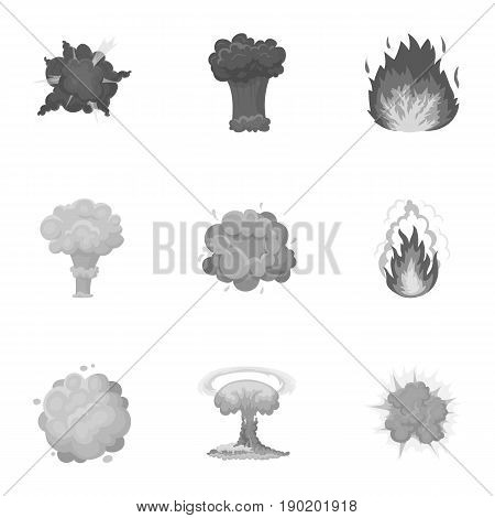 A set of icons about the explosion. Various explosions, a cloud of smoke and fire.Explosions icon in set collection on monochrome style vector symbol stock  illustration.