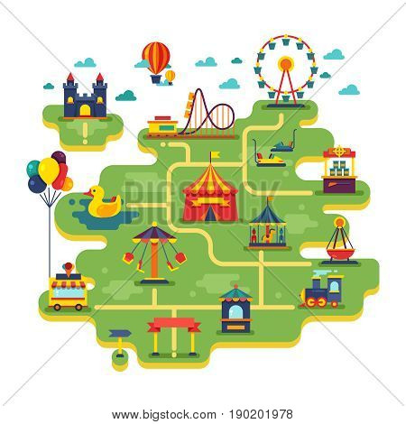 Family fun amusement park vector map. Entertainment in vacation vector background. Illustration of festival fair entertainment and amusement park