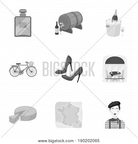 Attractions in France. Things to learn about France. France country icon in set collection on monochrome style vector symbol stock  illustration.