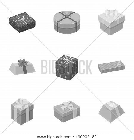 A set of pictures gifts. Gifts for different holidays, surprises. Gift packaging.Gifts and cert icon in set collection on monochrome style vector symbol stock  illustration.