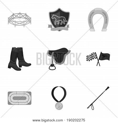 Races on horseback, hippodrome. Horse racing and equipping riders.Hippodrome and horse icon in set collection on monochrome style vector symbol stock  illustration.