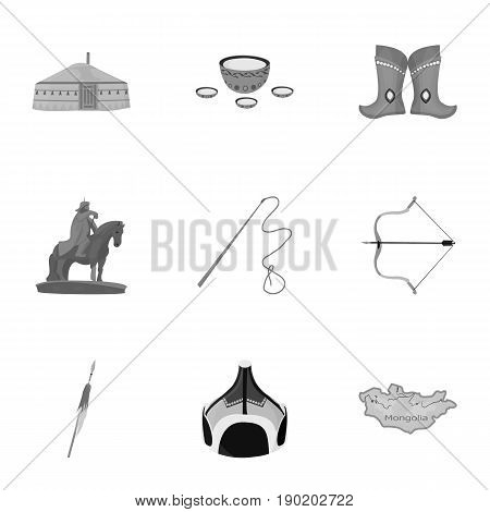 Mongolian national characteristics. Icons set about Mongolia.Clothing, soldiers, equipment. Mongolia icon in set collection on monochrome style vector symbol stock  illustration.