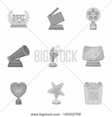 A set of awards for the movie viewings. Gold, silver and bronze awards to the Director, the actor. Moovie awards icon in set collection on monochrome style vector symbol stock  illustration.