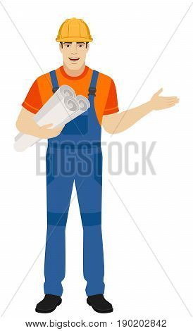 Welcome! Builder holding the project plans and showing something beside of him. Full length portrait of builder character in a flat style. Vector illustration.