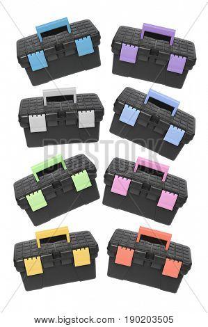 Black Plastic Tool Boxes On White Background