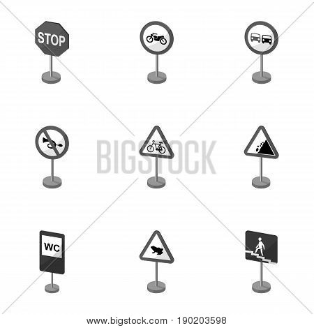 Set of road signs. Signs of prohibition, permission, priority. Road signs icon in set collection on monochrome style vector symbol stock  illustration.