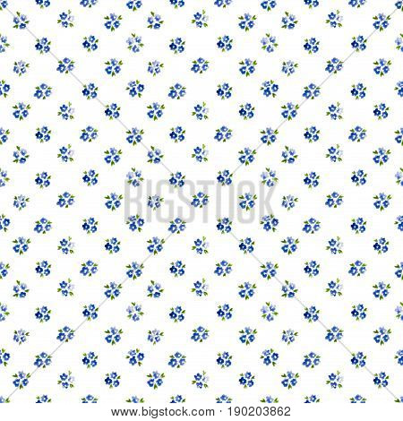 Calico Watercolor Forget Me Not Pattern. Graceful Seamless Cute Small Flowers For Fabric Design. Cal