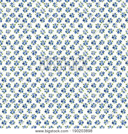Calico Watercolor Forget Me Not Pattern. Magnificent Seamless Cute Small Flowers For Fabric Design.