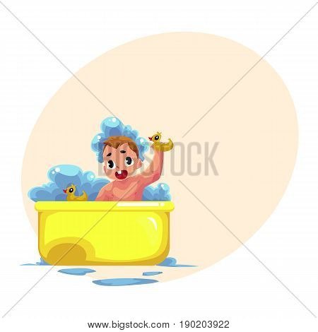 Cute little baby kid, infant, child taking foam bath with rubber ducks, cartoon vector illustration with space for text. Little caucasian kid, baby, infant taking foam bath, daily hygiene