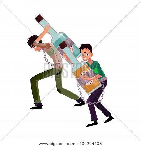 two man holding bottle of liquor, chained to it, alcohol dependence, abuse, disorder, cartoon vector illustration isolated on white background. Man chained to alcohol bottle he holds in hands