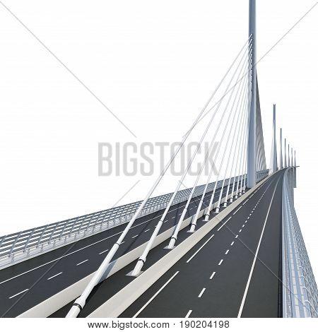 Millau Viaduct Bridge on white background. 3D illustration poster
