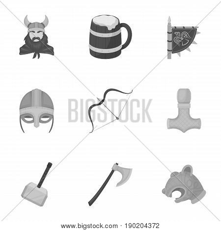 Ancient warriors of the Vikings on the ship. Outfit and symbols of the Vikings.Vikings icon in set collection on monochrome style vector symbol stock  illustration.