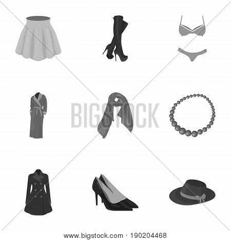 Pictures about types of women's clothing. Outerwear and underwear for women and girls. Woman clothes icon in set collection on monochrome style vector symbol stock  illustration.