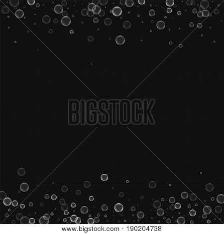 Soap Bubbles. Borders With Soap Bubbles On Black Background. Vector Illustration.