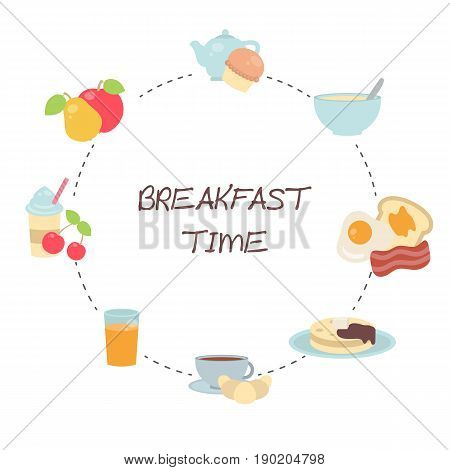 Vector Breakfast Concept With Food And Drinks.