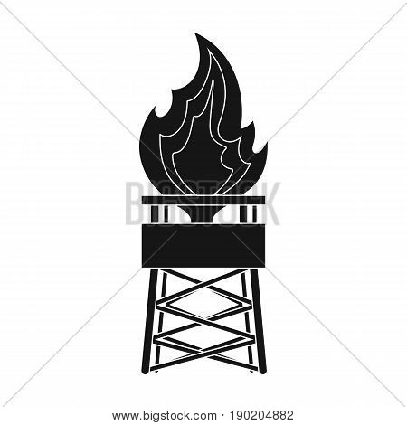 Gas tower.Oil single icon in black style vector symbol stock illustration .