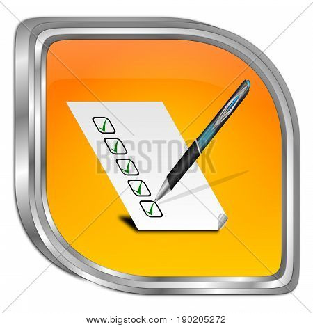 orange Button with check list - 3D illustration