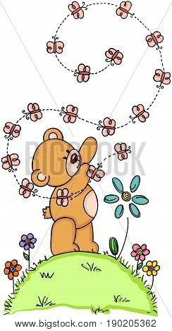 Scalable vectorial image representing a teddy bear and butterflies, isolated on white.