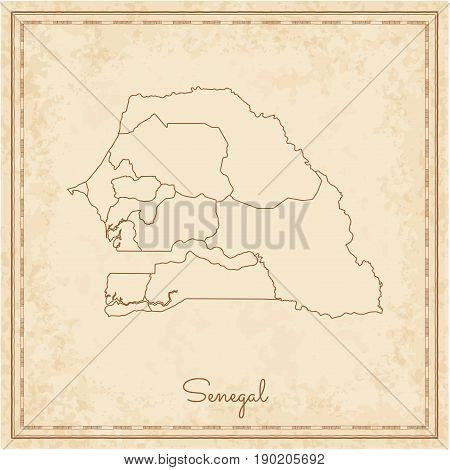 Senegal Region Map: Stilyzed Old Pirate Parchment Imitation. Detailed Map Of Senegal Regions. Vector