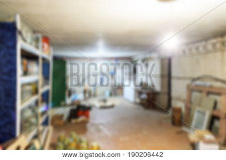 Abstract blur cluttered garage or basement for background