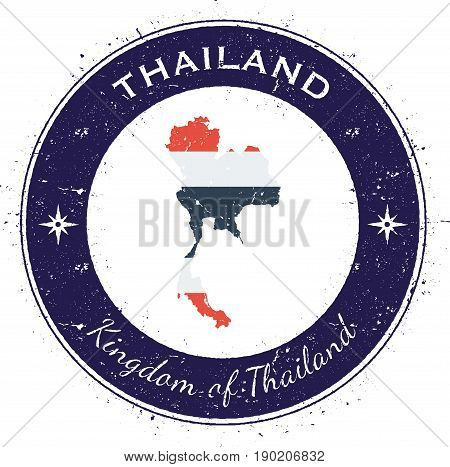 Thailand Circular Patriotic Badge. Grunge Rubber Stamp With National Flag, Map And The Thailand Writ