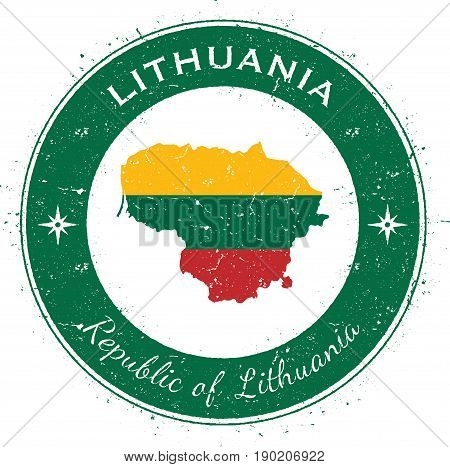 Lithuania Circular Patriotic Badge. Grunge Rubber Stamp With National Flag, Map And The Lithuania Wr