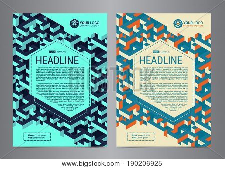 Multipurpose Flyer Layout with Isometric cubes background. Business design layout template Modern Backgrounds. Vector illustration.