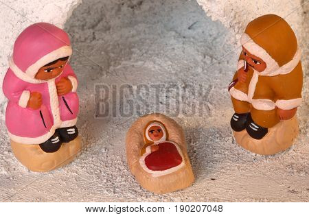 Igloo And Icelandic Crib Figurines Of The Holy Family Of Nativit