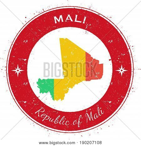 Mali Circular Patriotic Badge. Grunge Rubber Stamp With National Flag, Map And The Mali Written Alon