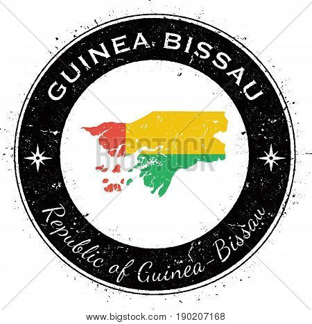 Guinea-bissau Circular Patriotic Badge. Grunge Rubber Stamp With National Flag, Map And The Guinea-b