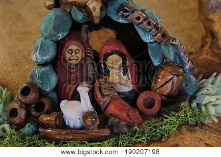 Nativity Scene With Holy Family With Their Faces A Little Styliz