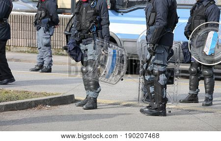 Platoons Of Riot Police Officers During Anti-terrorism Checks