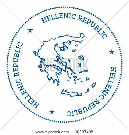 Greece Vector Map Sticker. Hipster And Retro Style Badge With Greece Map. Minimalistic Insignia With