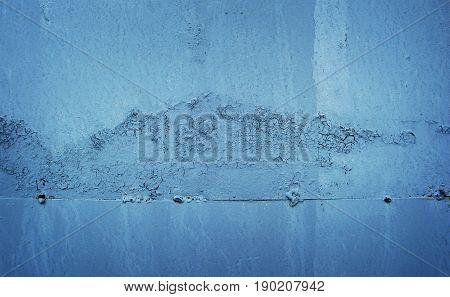 Metal, old metal surface, metal texture, metal background. Blue metal. Metal wall. Old metal.
