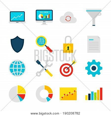 Big Data Analytics Objects. Business Statistics Set of Items Isolated over White.