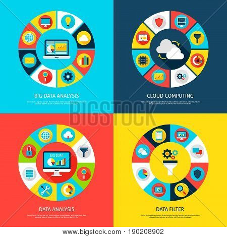 Big Data Concepts. Vector Illustration of Database Infographics Circle with Digital Icons.