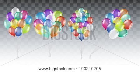 set of a real colorful transparent helium balloons