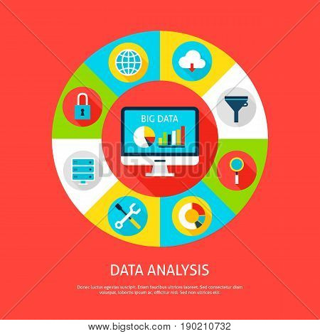 Data Analysis Concept. Vector Illustration of Database Infographics Circle with Computer and Digital Icons.