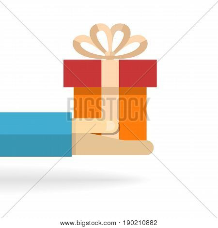 Hand with gift box with bow and shadow isolated on a white background.Vector cartoon flat style illustration.To give gifts, deliver gifts, rejoice in presents.