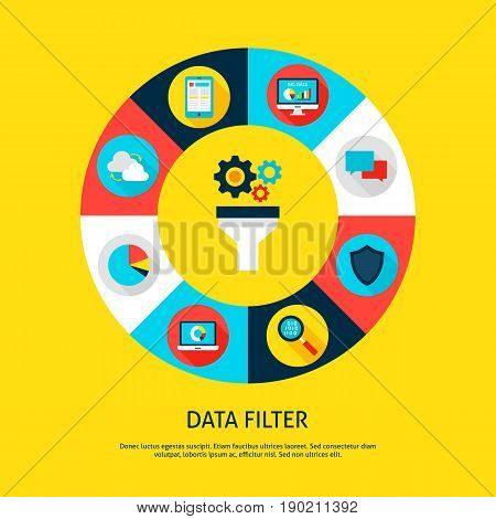 Data Filter Concept. Vector Illustration of Database Infographics Circle with Funnel and Digital Icons.