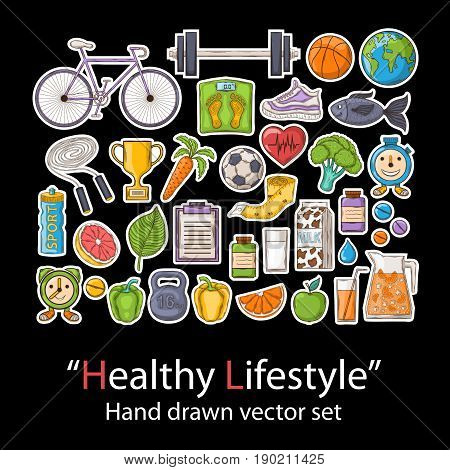 Healthy lifestyle. Badges patch fashion collection.Vector Health hand draw set on a black background.Pins, stickers, patches in doddle style.Trend.Vector illustration isolated. Vector clip art.