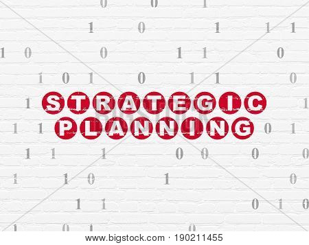 Business concept: Painted red text Strategic Planning on White Brick wall background with Binary Code