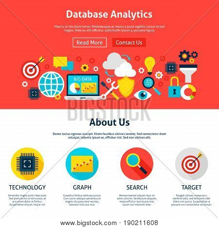 Database Analytics Website Design. Flat Style Vector Illustration for Web Banner and Landing Page.