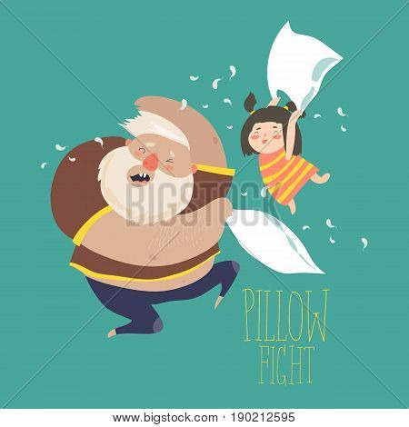 Dad and daughter playing pillow. Vector illustration