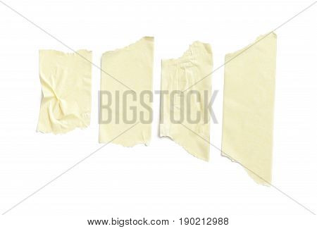 collection of various adhesive tape pieces on white background