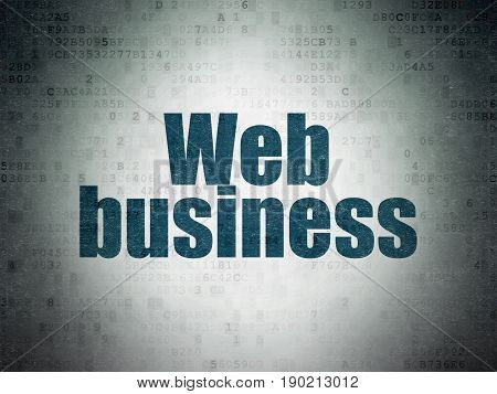 Web design concept: Painted blue word Web Business on Digital Data Paper background