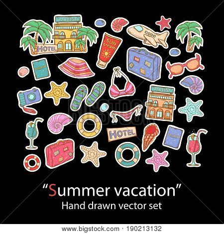 Summer vacation hand draw set.Pins, stickers, patches in doddle style.Trend.Vector illustration isolated.Vector clip art.Fashion patch badges collection with palm, cocktail, shell, sunscreen, sunglasses